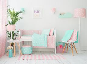 Bettwäsche-Set für Kinder mit Füllung PINK & MINT STARS